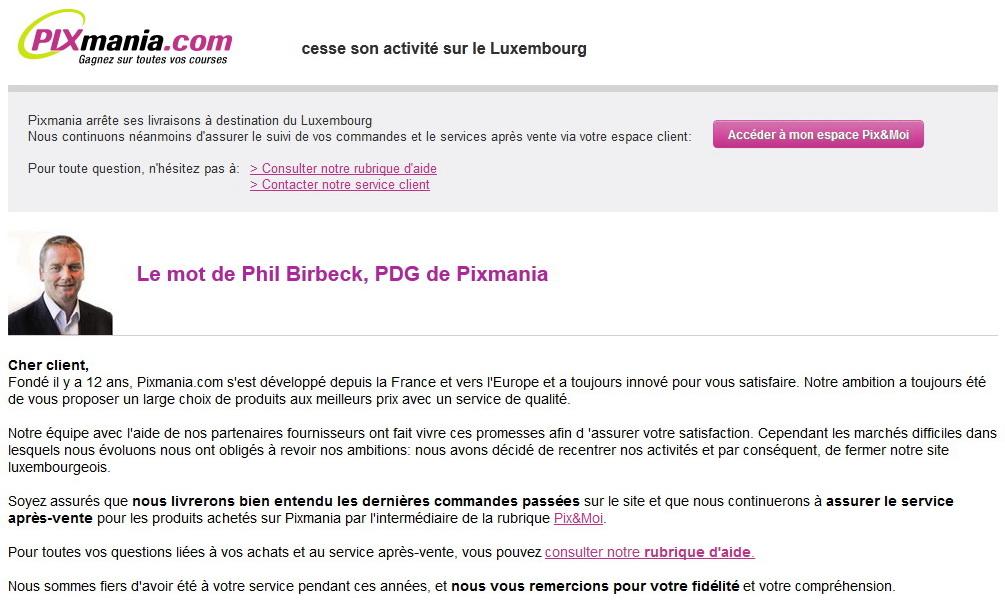 Pixmania cesse son activité sur le Luxembourg - Paradoxe