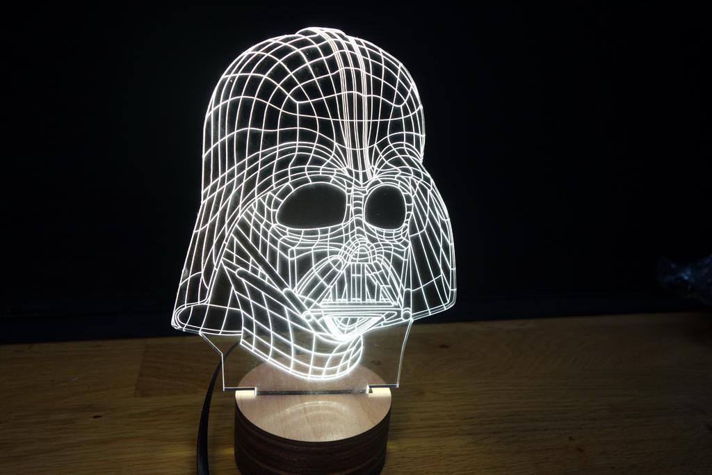 3D Wood Mood Lamp Bulbing Light Star Wars Darth Vader-0