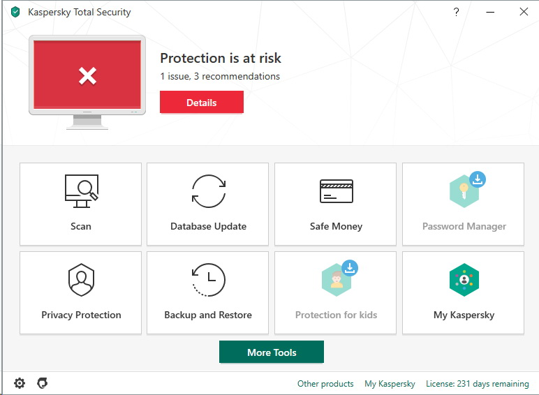 Menu Kaspersky Total Security 2020