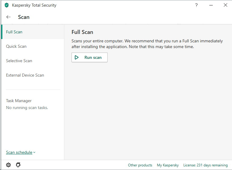 Menu de scan de Kaspersky Total Security 2020