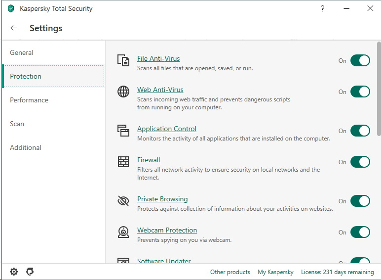 Menu settings de Kaspersky Total Security 2020