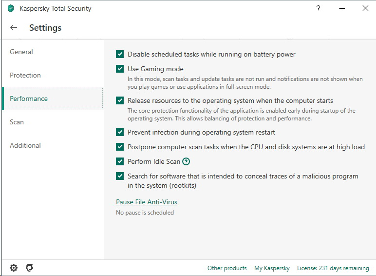 Menu performance de Kaspersky Total Security 2020