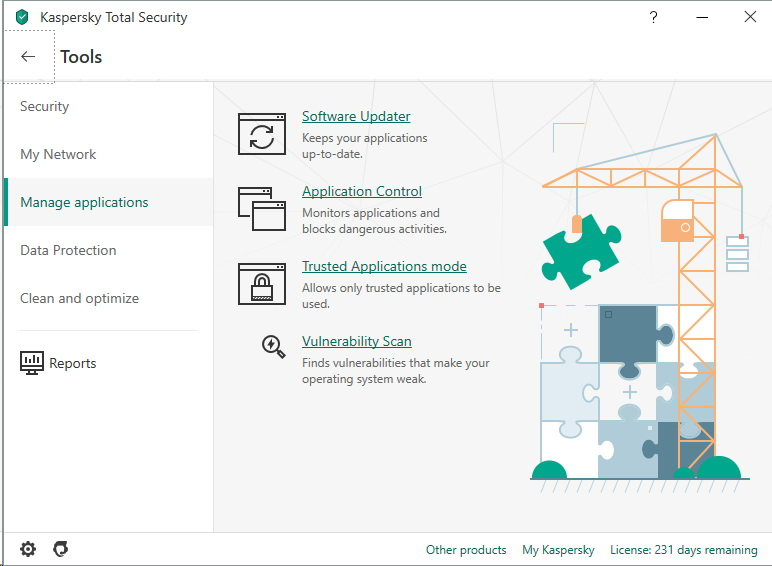 Menu tools de Kaspersky Total Security 2020