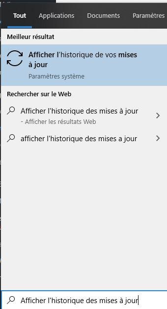Afficher l'historique des mises à jour de Windows 10