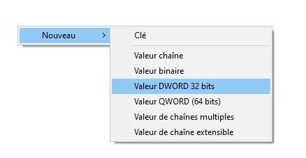 ajout clé DWORD 32 bits