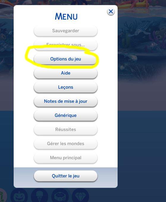 Options du jeu Sims 4