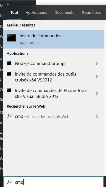 Taper la commande CMD dans la recherche de Windows 10