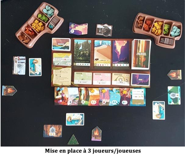 carte et jeton du jeu Parks de matagot