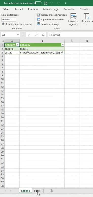 Liste des abonnés instagram sous Excel