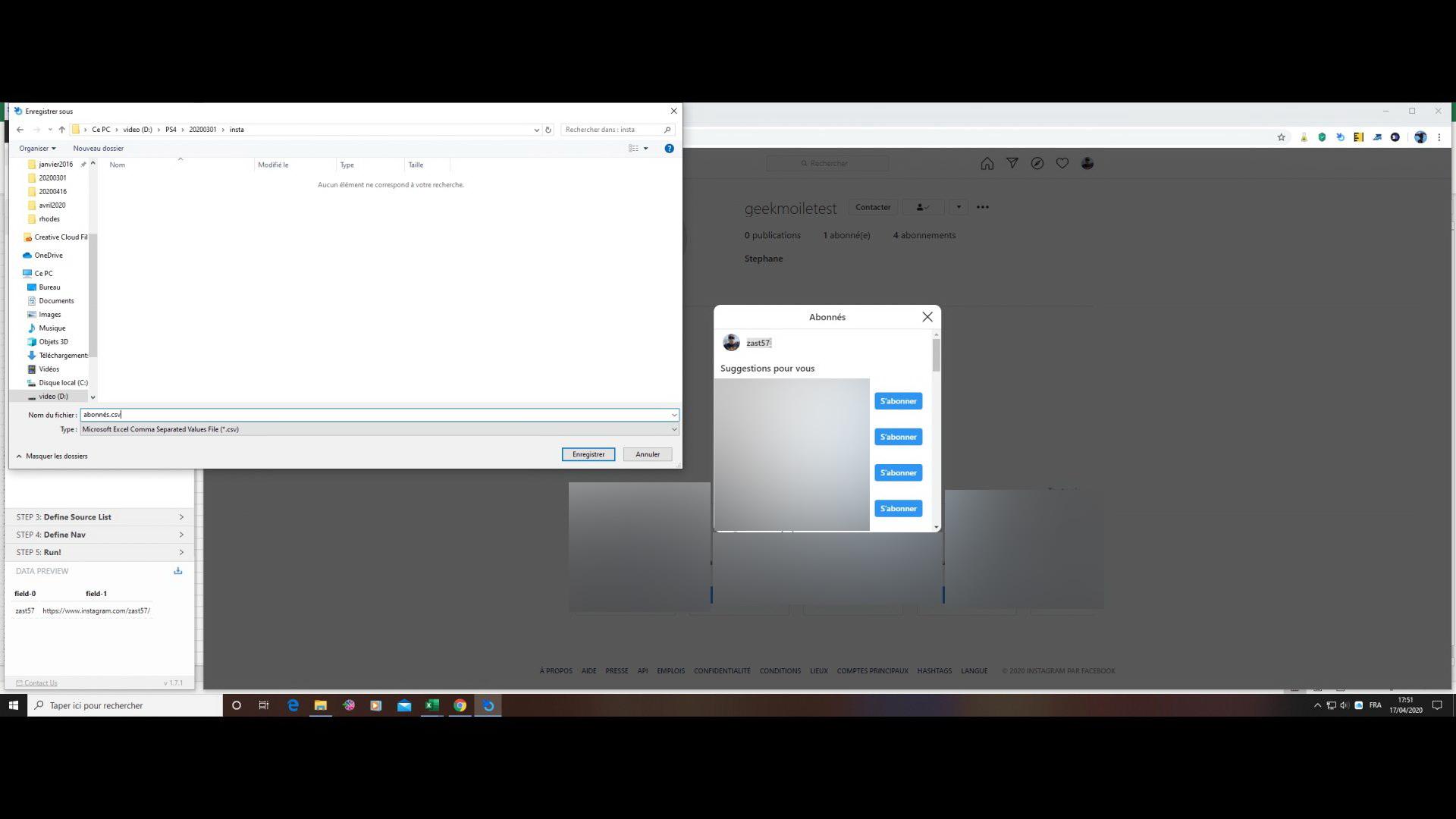 créer fichier csv des abonnés intagram