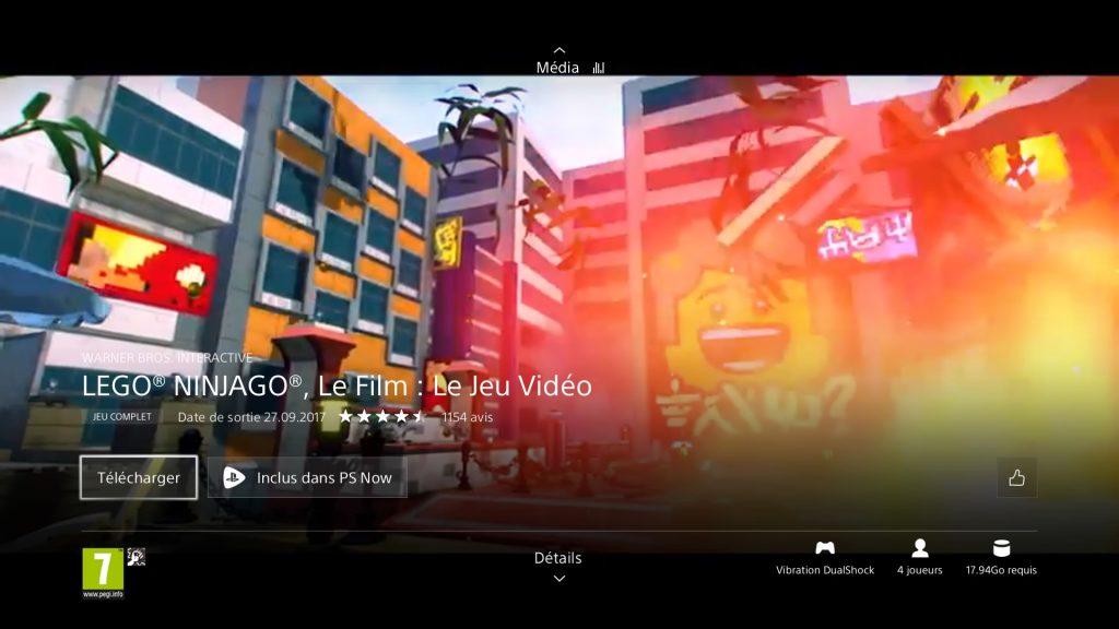 Lego Ninjago le film le jeu vidéo gratuit sur Playstation store