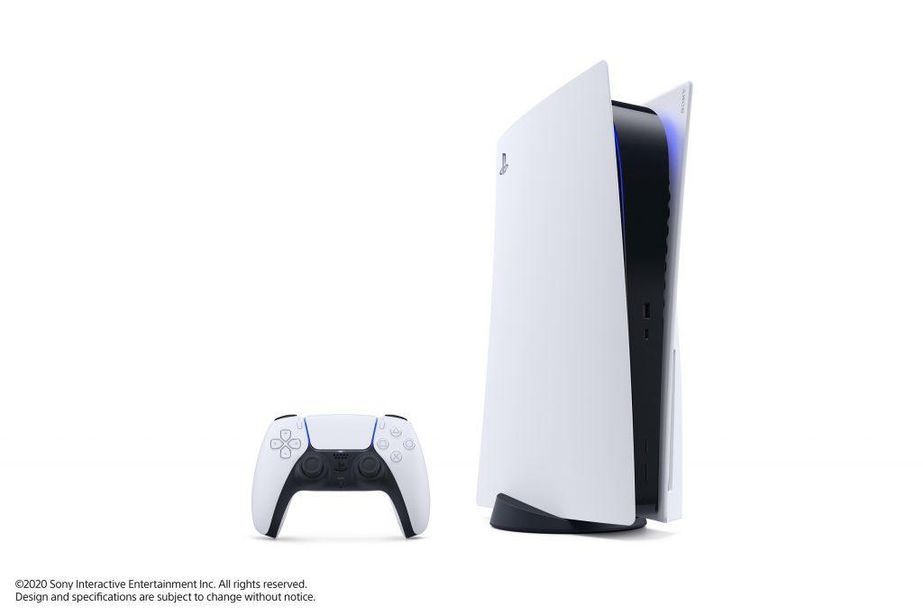 PlayStation 5 avec sa manette et son support vertical