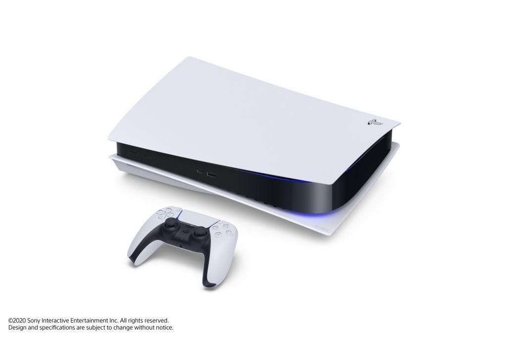 La console PlayStation 5 couchée avec son pad