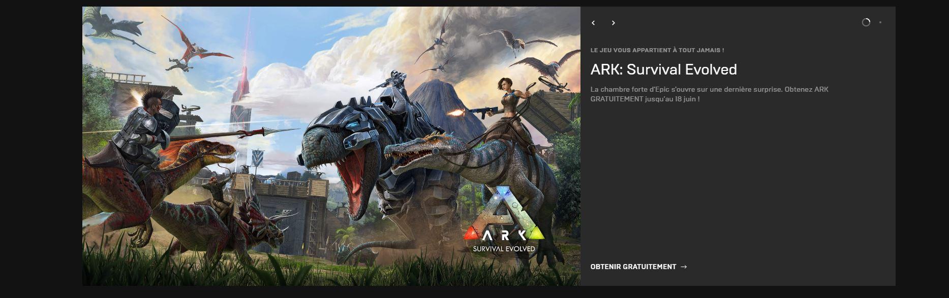 Ark Survival evolved gratuit epic games
