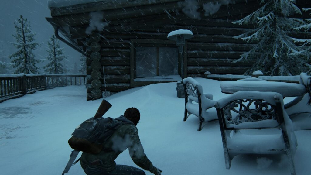 Ellie avance discrètement dans la neige