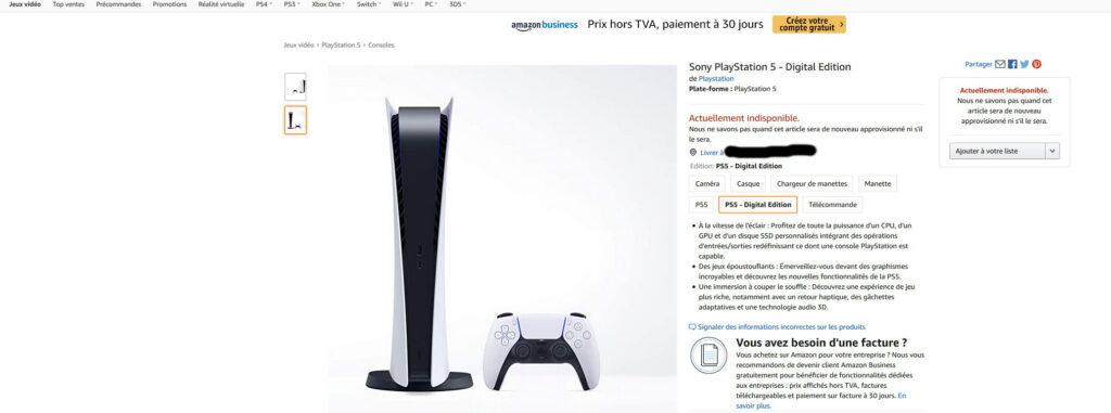 PS5 digitale édition Amazon.fr