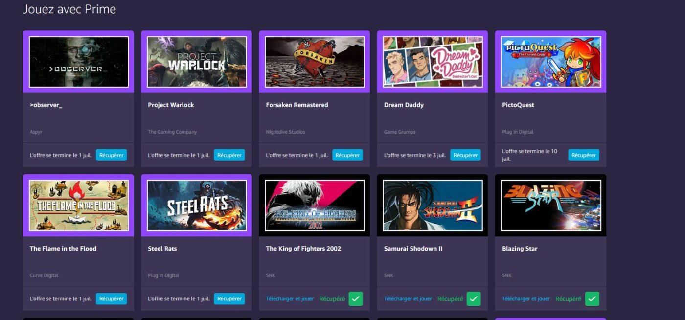 Liste des jeux gratuits Amazon Prime/Twitch mi juin 2020