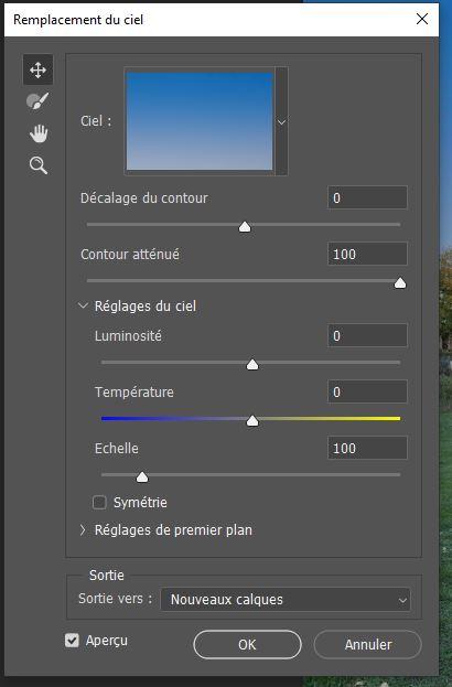 Les options du remplacement du ciel dans Photoshop