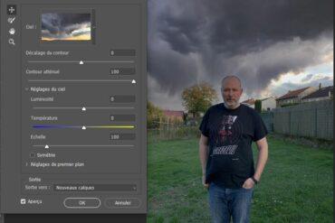 Menu changer ciel dans photoshop