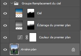 Le groupe de calque Remplacement du ciel de photoshop