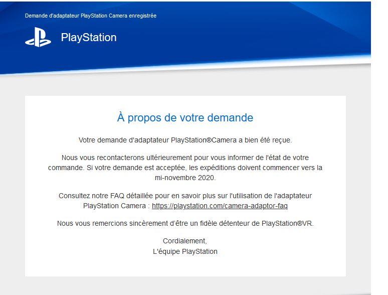 Email confirmatiion PSVR sur PS5
