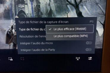 Modifier WebM en MP4 sur PS5