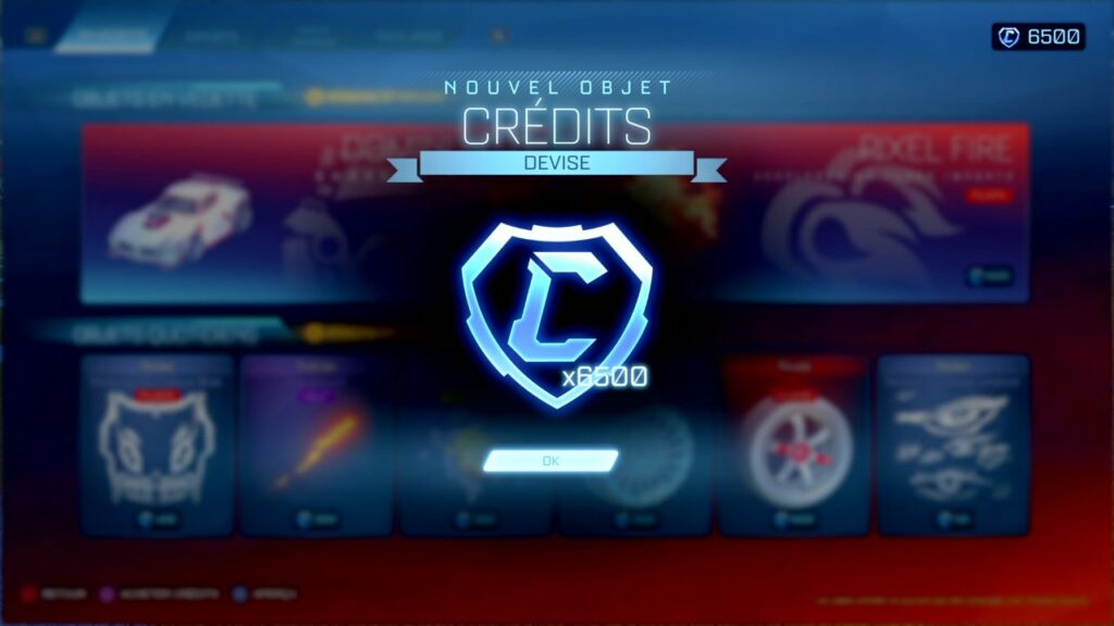 Nouvel objet credits devise Rocket League