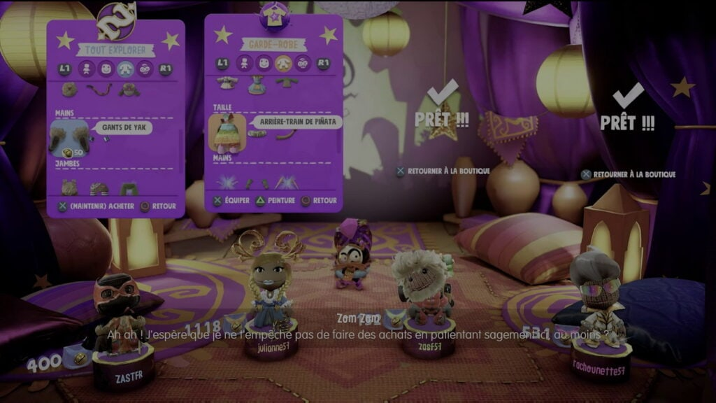 Sackboy PS5 personnalisation des personnages