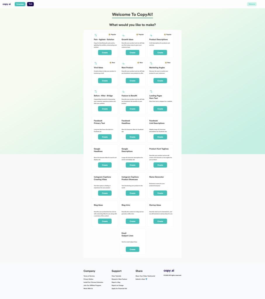 Copy.ai menu