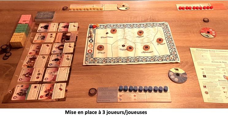 Plateau, jeton et carte du jeu Pax Pamir 2nde édition
