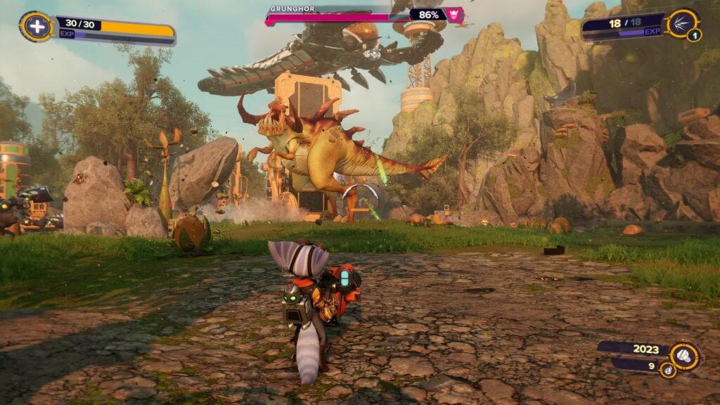 Ratchet and Clank Rift Apart contre un dino