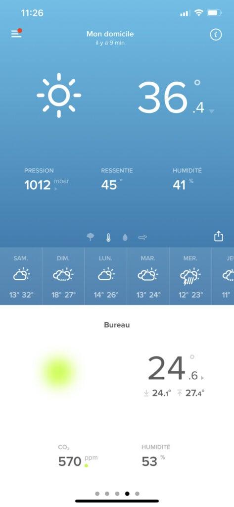 Baisse température de 27,4 à 24,6 avec clim mobile