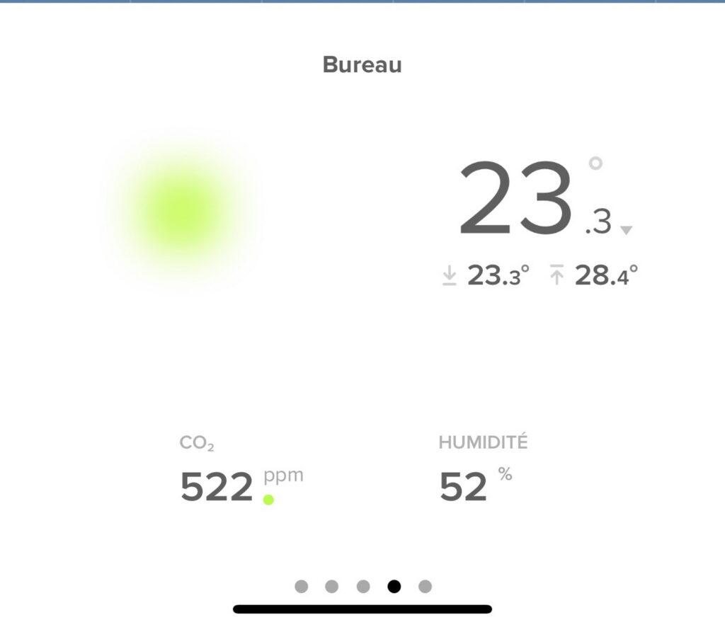 Baisse de température de 28.4 à 23.3 avec climatiseur thomson
